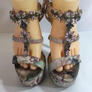 Betsey Johnson Nobles crystal floral platform 6
